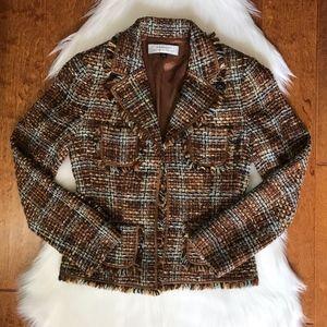 Tahari brown plaid tweed blazer size 4